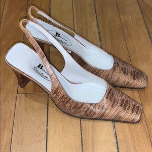 Browns Couture Faux Alligator Sling Back Heel 6.5